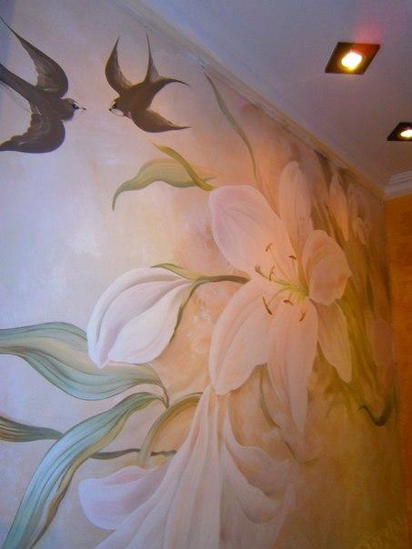 Фреска с цветами. Художественная Роспись стен г.Симферополь